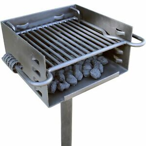 Titan Single Post Park Style Grill Charcoal BBQ Outdoor Heavy Duty Cooking Camp