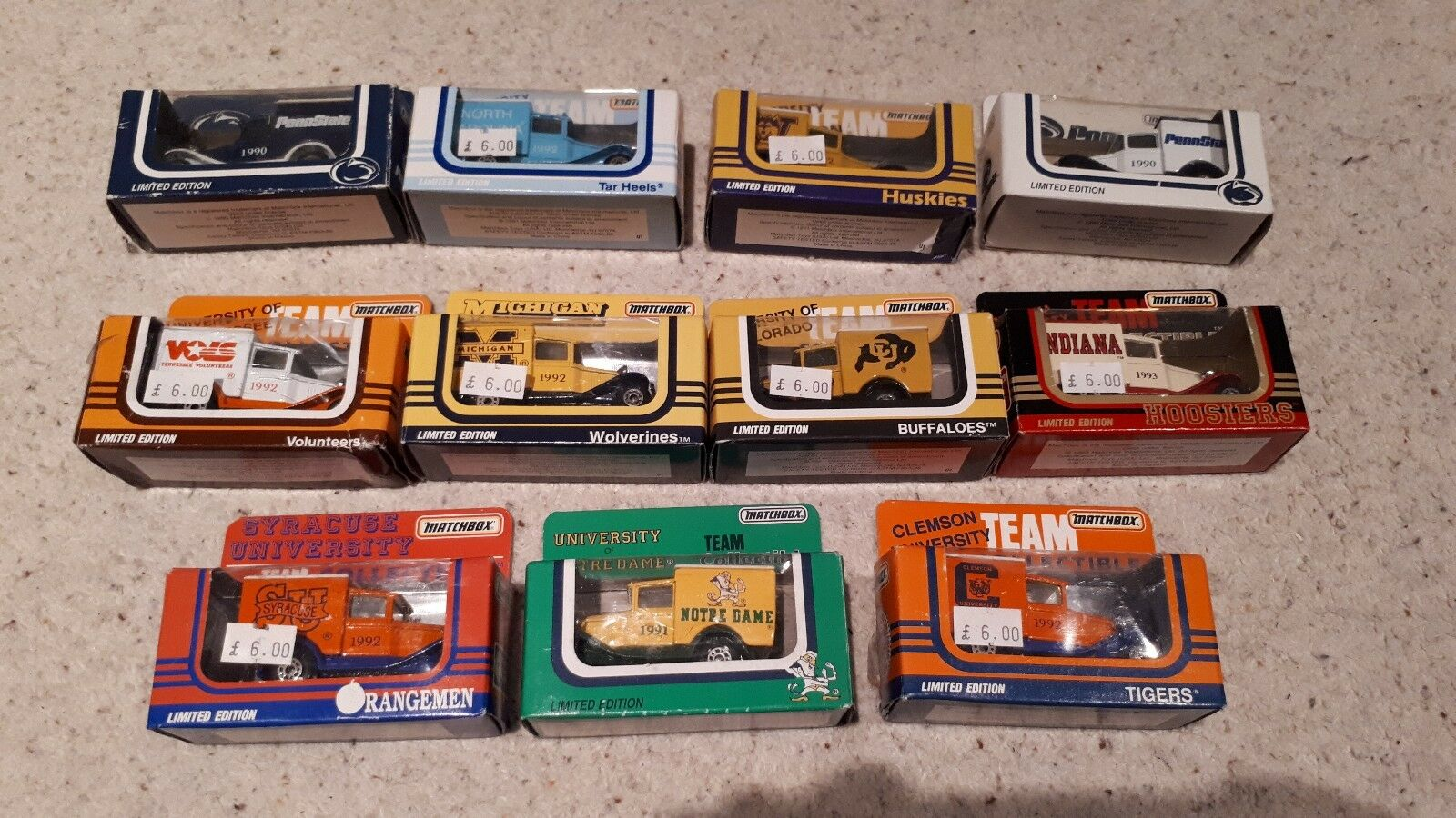 Matchbox Die Cast Vans x 11 - US University's College's - All Boxed 1991