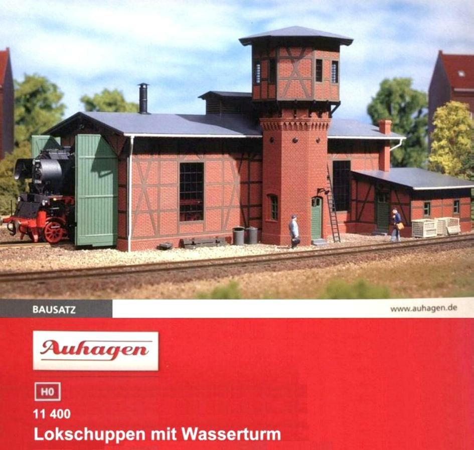 Auhagen 11400 H0 - Lokschuppen mit Wasserturm NEU NEU NEU & OvP c47f70