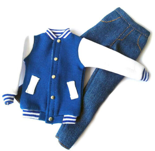 Handmade doll blue white Baseball Jacket clothes Pants set for 1//6 dolls 12/""