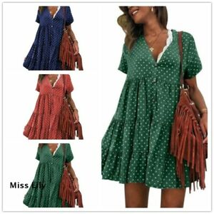 Women-Summer-Short-Sleeve-Smock-Dress-Ladies-Holiday-Beach-Loose-Shirt-Sundress