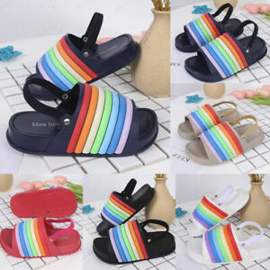 Toddler-Kids-Girl-Boy-Rainbow-Slippers-Beach-Slides-Soft-Shoes-Sandals-PVC-UA