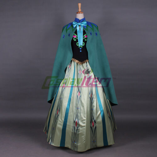 Anna Coronation with cape Party Dress Cosplay Costume Adult Gown custom made