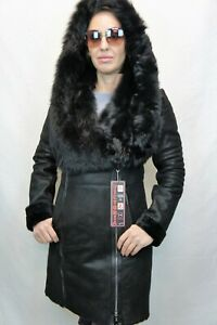 Black-100-Real-Shearling-Sheepskin-Leather-Toscana-Hood-Jacket-Coat-XS-6XL-NWT