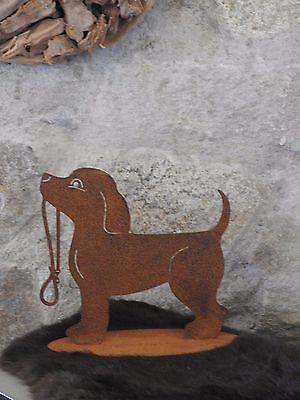 Edelrost Hund Mit Leine D Dekoration Garten Terrasse Garten Figur Skulptur Leine Attraktives Aussehen