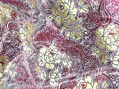 RED GOLD PAISLEY FLORAL METALLIC EMBROIDERED FABRIC SARI TABLECLOTH DRESS DRAPE