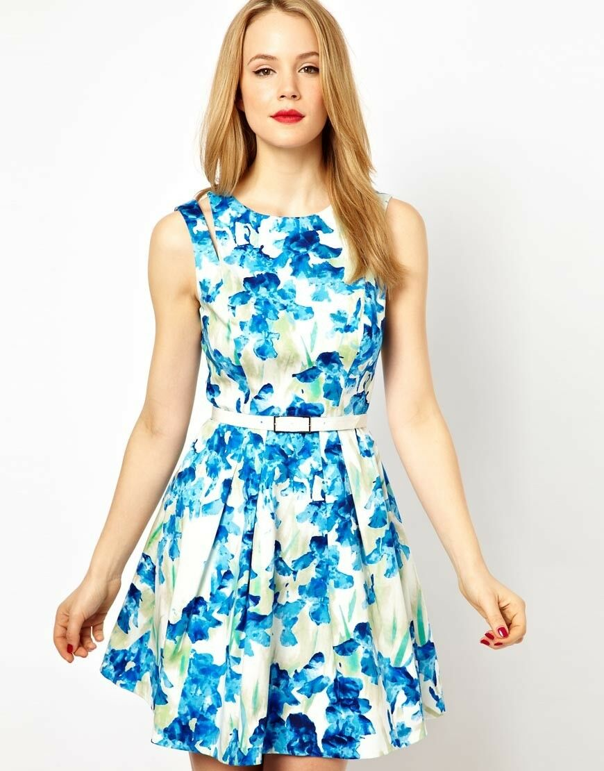 Karen Millen bluee floral Dress -size 4 6- New with tags