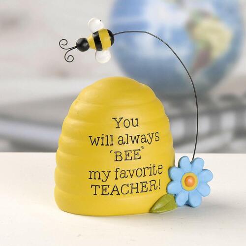 Favorite Teacher Bee Hive 4 x 3 Inch Resin Stone Decorative Plaque