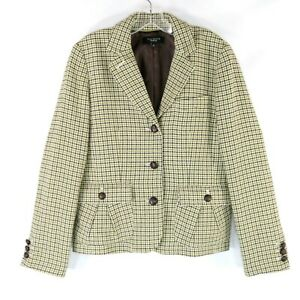 Talbots-Women-039-s-Size-12-Green-Houndstooth-Cropped-3-Button-Wool-Blend-Blazer