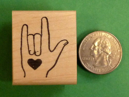 I LOVE YOU Hand Sign Wood Mounted Rubber Stamp