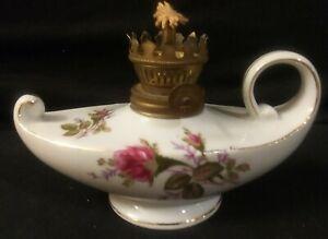 Vintage-Made-in-Japan-Marked-Porcelain-Oil-Lamp-Aladdin-Style-Pink-Purple-Roses