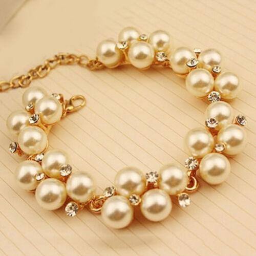 Charme Cristal Strass Perles Bracelet Manchette Chaîne Femmes Bij SQ