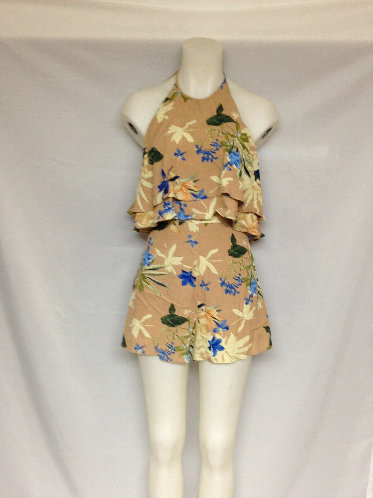 ASTR the Label white Halter Romper ACP6165 Paradise floral Small NWT