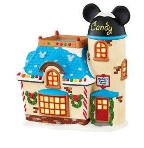 Dept-56-Disney-Xmas-village-Mickey-039-s-candy-shop-porcelain-Lighted-4047183ct