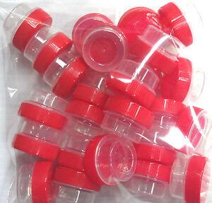 12-Red-screw-cap-top-lid-1tsp-25oz-CLEAR-JARS-storage-container-pot-DecoJars