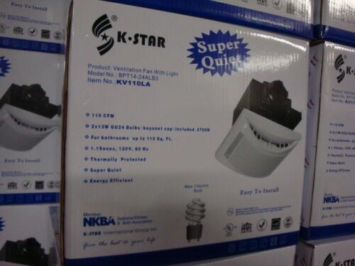 New!1.1 Sones 110CFM Bathroom Ventilation Fan /& Light Combos KV110LA