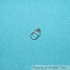 BonEful Fabric FQ Cotton Quilt Aqua Blue Brown Small Little Calico Pin Polka Dot