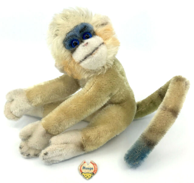 Steiff Mungo Monkey Mohair Plush 17cm 7in ID Chest Tag 1960s Colorful Vintage
