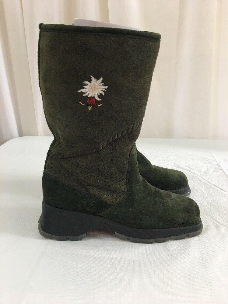 BOGNER Fleece Lined Suede Winter Stiefel 7B Army Grün Mid Calf   1556
