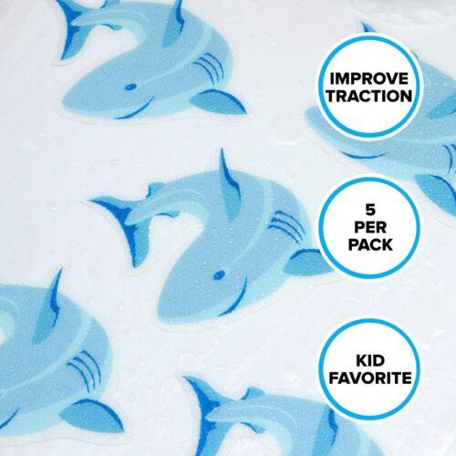 """Shark Tub Tattoos 4/"""" x 4/"""" Blue SlipX Solutions Adhesive Tub Treads"""