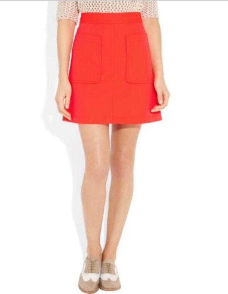 Marc By Marc Jacobs Esther Oxford Lava Neon orange  Mini Skirt sz 8  retail  278