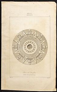 1863 - Gravur Antik Eine Stein Der Opfer Azteken - Mexiko