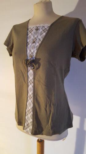 T-Shirt Oliv mit Einsatz in Weiß kariert Doppeloptik Damen Shirt S M L XL neu