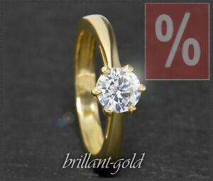 Diamant-Brillant-585-Gold-Ring-Solitaer-1-04ct-Brilliant-Top-Wesselton-Damen