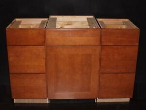 Set Of 3 Kraftmaid Cinnamon Maple Bathroom Vanity Sink