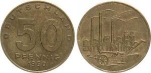 Rda 50 Peniques 1950A (9) Recién Acuñado, Messingpatina