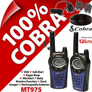 Cobra Mt975 2 Voies Talkie-walkie Radios 12km Rechargable Pmr 446 Double Paquet