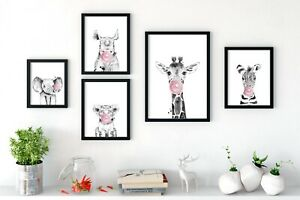 Bubblegum-Nurserie-animale-Prints-Wall-Art-coucou-les-animaux-avec-Bubble-Gum