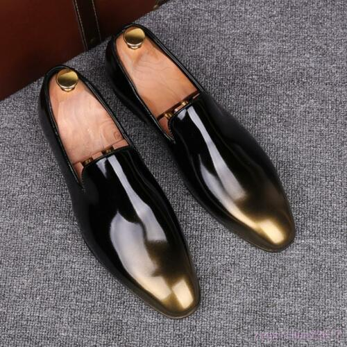 Mens Gold Red Toe British Slip on Patent Shiny Leather Loafer Dress Formal Shoes