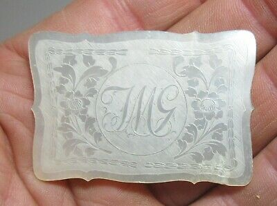 ANTIQUE CHINESE MOTHER OF PEARL CARVED  GAMING COUNTER MONOGRAM JMG c.1785