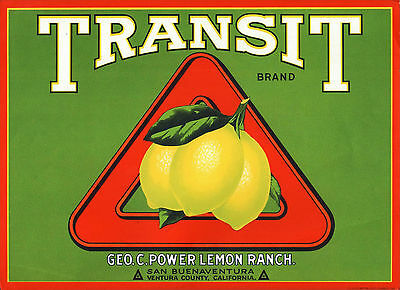 *Original* TRANSIT San Buenaventura Ventura TRIANGLE Lemon Label NOT A COPY!
