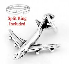 "STERLING SILVER ""AIRPLANE"" CHARM WITH SPLIT RING"