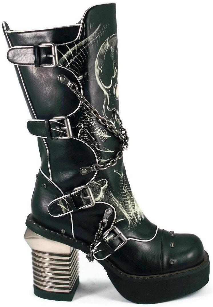 Hades SPAWN Black Knee Boots Glow in Dark SKULL Metal Heels Buckles Punk Biker