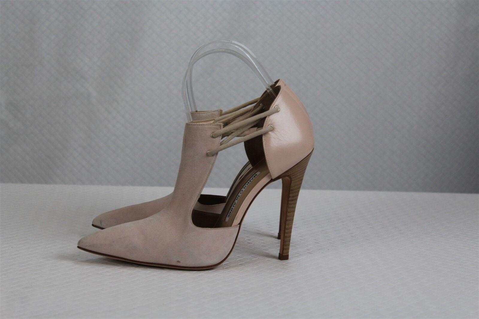Manolo Blahnik para para para mujeres Zapatos Tacones 8 es 38 Luz rosado Gamuza Cuero Hecho A Mano  Envío y cambio gratis.