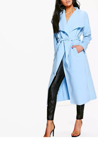 RRP £44.99 Long Oversize Belted Waterfall Coat in Sky Blue