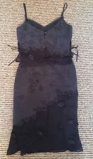Karen Millen 2 piece outfit - Black Vest Top & Skirt, Suede and Chiffon - Size 8