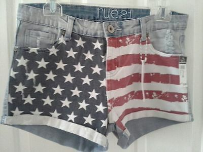 Patriotic American flag high waisted shorts size 7 juniors rue21 denim