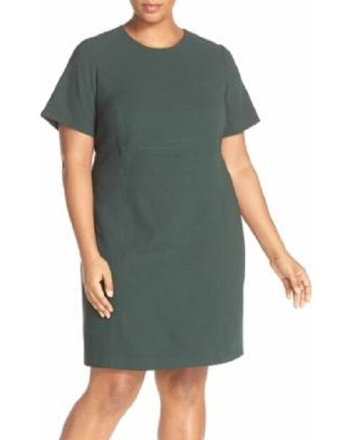 NEW ELIZA J Pine Green Empire Seam Detail Short Sleeve Crepe Sheath Dress 20W 2X