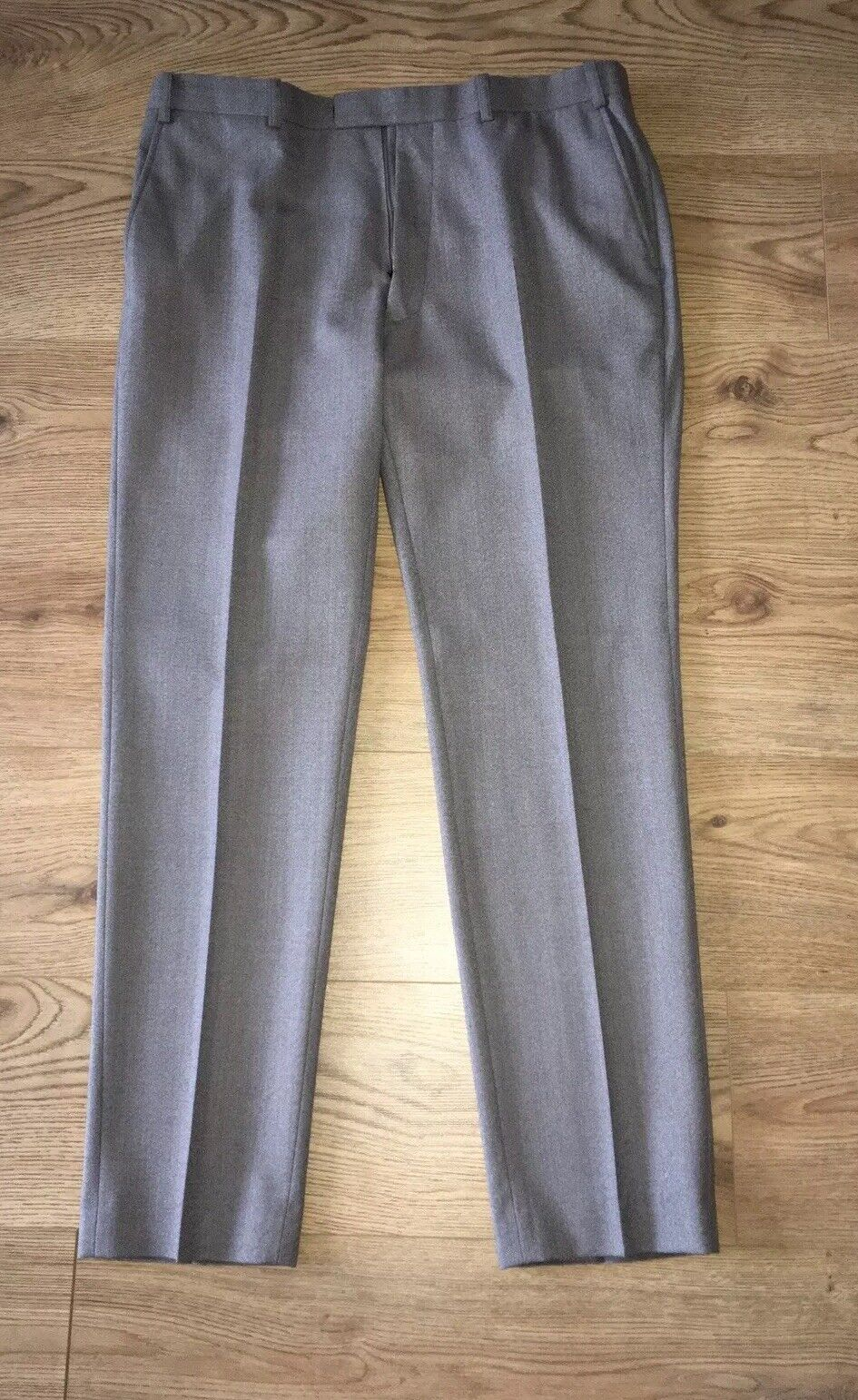 Men's French Connection Grey Slim Fit Formal Trousers Size 36R