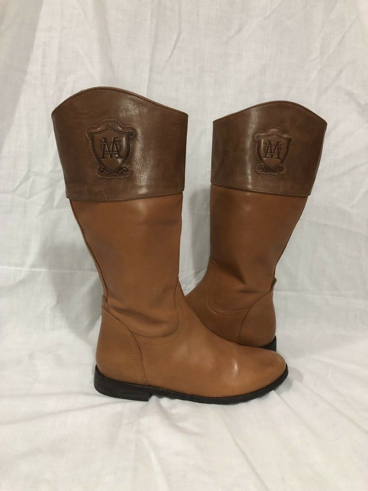 Massimo Dutti Caramel brown logo leather Zip tall riding boots size 36, US 6
