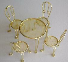 Dollhouse Miniature Furniture Gold Mesh/Metal Patio Table & 4 High Back Chairs