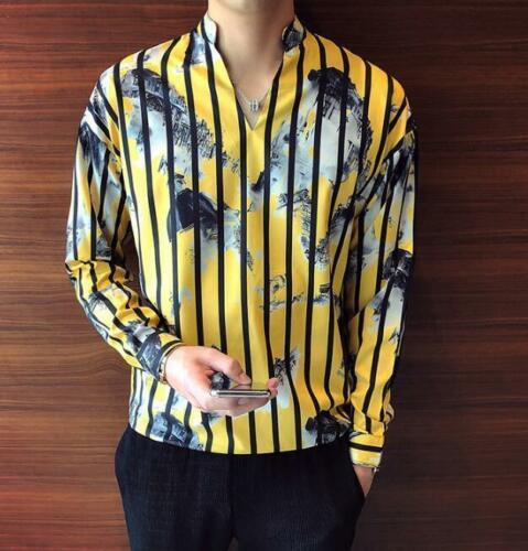 Fashion Men Stripe Shirts Yellow Barber Loose V Neck Korean BF Style Nightclueb