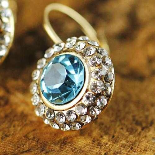 Boucles d`Oreilles Dormeuse Rond Cristal Doré Bleu Clair Class Vintage CC 7