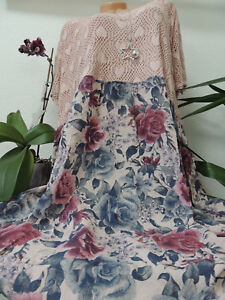 Details zu Damen Kleid Größe 52 54 56 58 60 Übergröße Kleider Maxikleid Spitze Blumen