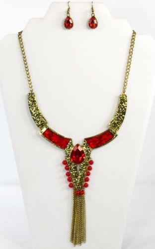 Red Crystal Pendant Choker Statement Bib Necklace Earring Set Hat Society Ladies