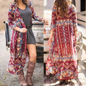 Women-Floral-Ethnic-Retro-Printed-Long-Cardigan-Beach-Tops-Shirt-Bikini-Cover-up